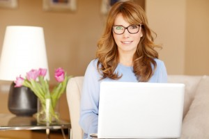 Mature businesswoman working at home