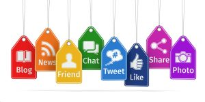 Labels with social media icons